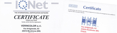 Certificazioni Verincolor per la Qualità e per l'Ambiente